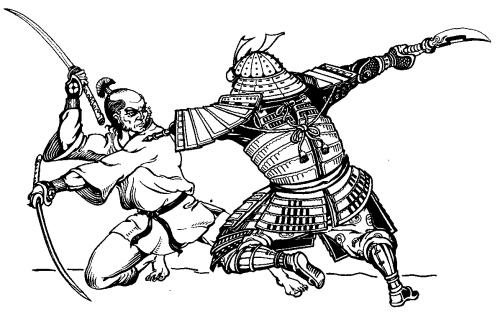 Kampf - Kämpfende Samurai